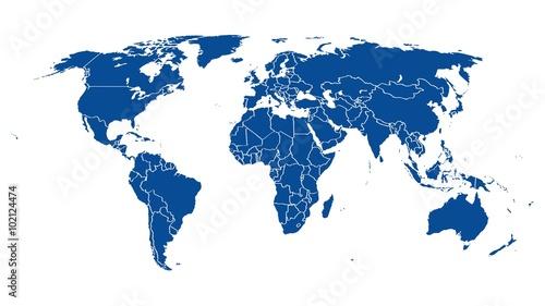 In de dag Wereldkaart World map