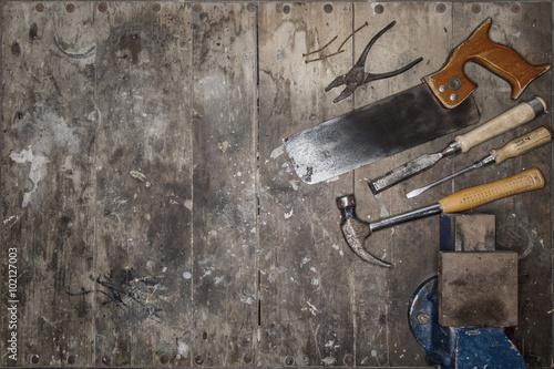 Fotografia, Obraz  Werkzeuge auf Arbeitstisch / Werkbank / Zusammenstellung