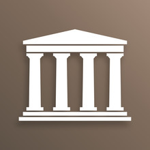 Architecture Greek Building Symbol, With Shadow, Brown Background