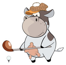 A Little Golfer Cow. Cartoon