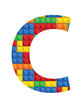 C letter font - seamless vector pattern of plastic parts