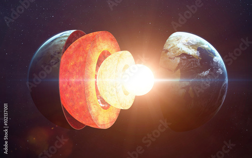 Valokuvatapetti Earth core structure. Elements of this image furnished by NASA