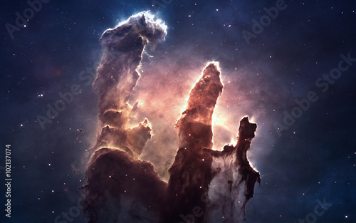 Nebula and stars in deep space, glowing mysterious universe Fototapeta