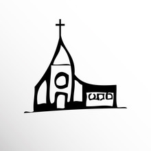 Church. Drawing. Sketch Style.