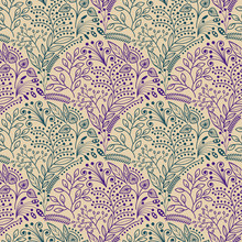 Green And Purple Floral Seamless Pattern On Beige Background