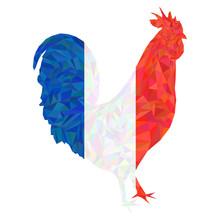 Polygonal Gallic Rooster In French Flag Colors