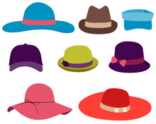 Set Summer Hat Isolated On White Background. Vector Illustration