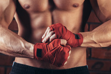 Muscular Fighter With Red Band...