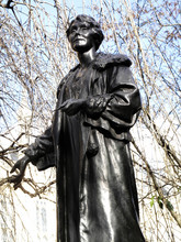 Emily Pankhurst 1858-1928 Statue In Victoria Tower Gardens At The Houses Of Parliament, London England, UK, Was Sculptured By Arthur George Walker And Unveiled Ion 1930