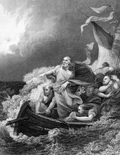 An Engraved Vintage Illustration Image Of Jesus Christ Calming The Storm, From A Bible Dated 1852