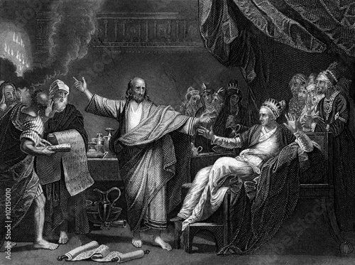 Zdjęcie XXL Wygrawerowany obraz ilustrowany Daniel Interpretując pisanie na ścianie, z rocznika wiktoriańskiego Biblii z 1852 roku
