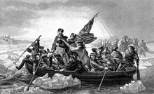 An Engraved Illustration Of George Washington Crossing The River Delaware During The American Revolutionary War, From A Victorian Book Dated 1886