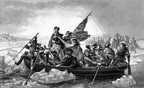 An engraved illustration of George Washington crossing the River Delaware during Fototapeta