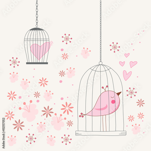 Foto op Canvas Vogels in kooien Freedom concept of love in a cage. Bird singing about love in a locked cage. Romantic floral background. Vector illustration