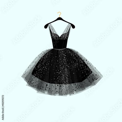 Foto  Little black dress. Party dress. Vector illustration