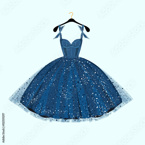 Fotografie, Obraz  Blue party dress. Vector illustration