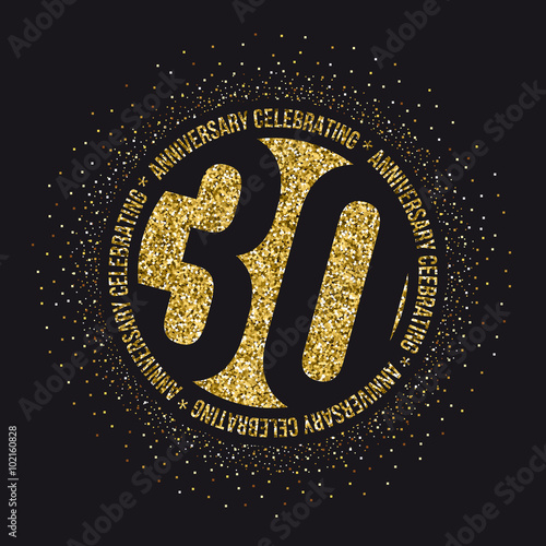 Fotografia  Thirty years anniversary celebration golden logotype