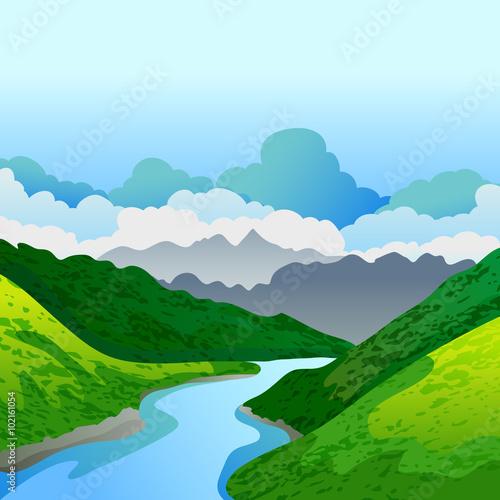 Deurstickers Groene Vector summer or spring landscape. Panorama of green mountains,