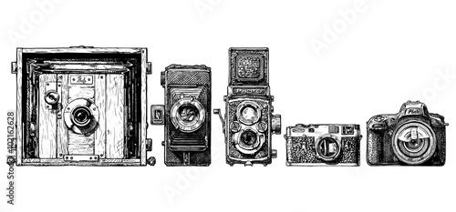 Photo photo cameras evolution set.