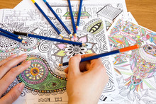Adult Colouring Books With  Pencils, New Stress Relieving Trend, Mindfulness Concept Person Coloring  Illustrative