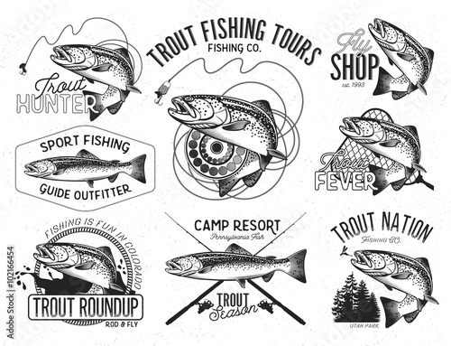 Vintage trout fishing emblems Canvas-taulu