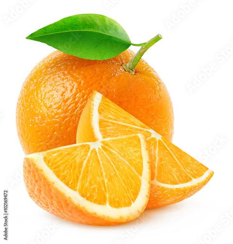 Foto op Aluminium Vruchten Isolated orange fruit and slices