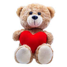 Teddy Bear With Red Heart-shaped Pillow