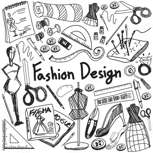 Fashion Design Education Doodle Icon Tool Sign Symbol In White Isolated Background Paper Used For Designer Presentation Title With Header Text Create By Vector Buy This Stock Vector And Explore Similar