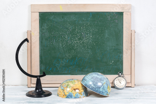 School board , globe and watches Wallpaper Mural