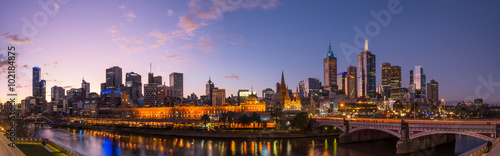 Melbourne cityscape panorama view in the twilight time of the day, Australia.