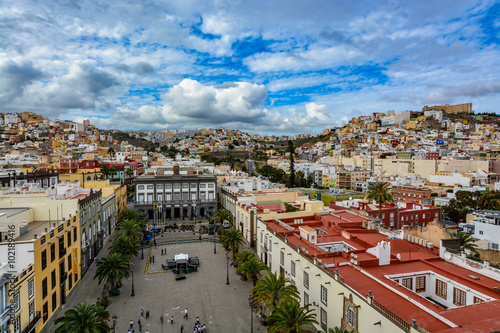 Panoramic view of Las Palmas de Gran Canaria on a beautiful day, view from the Cathedral of Santa Ana