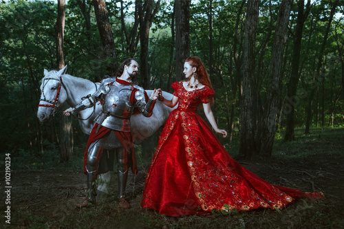 Photo  Medieval knight with lady