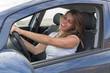 canvas print picture - Attraktive Frau singt im Auto