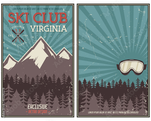 Retro summer or winter holiday poster. Travel and vacation brochure. Camping promotional banner. Vintage goggles, mountains, trees, ski snowboard vector design concept elements. Motivational lettering