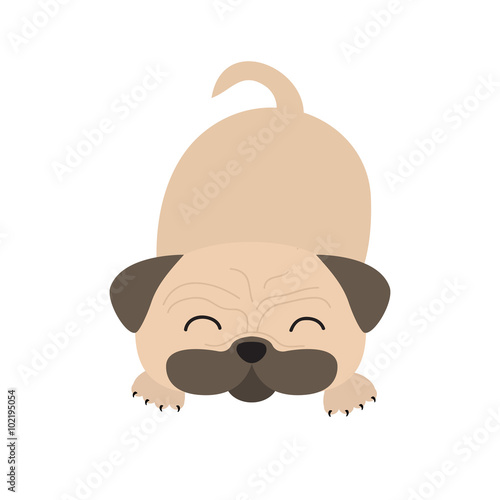 Poster Retro sign Pug dog mops. Cute cartoon character. Flat design. Isolated. Wite background.