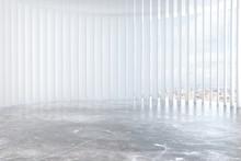 Contemporary White Room With Concrete Floor