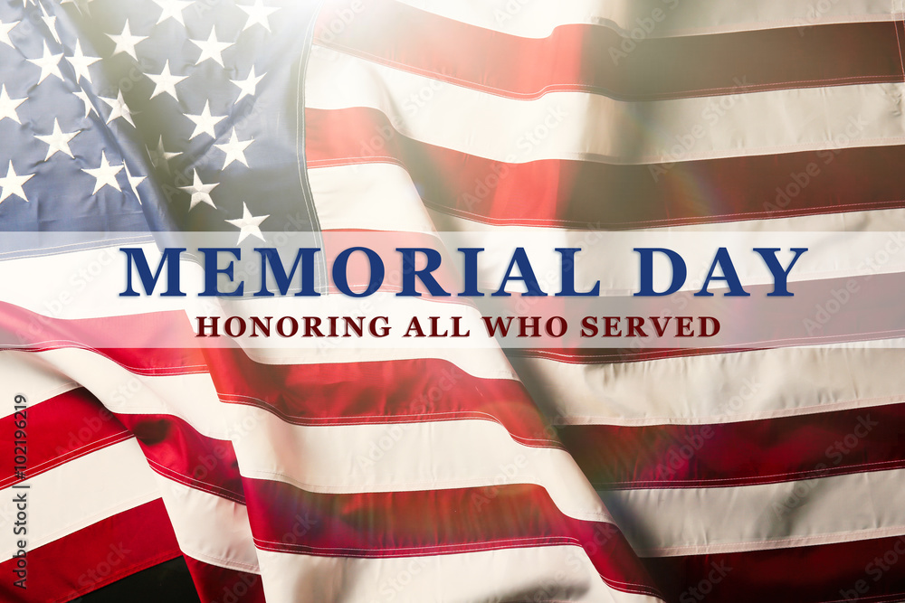 Fototapety, obrazy: Text Memorial Day on American flag background