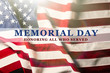 canvas print picture - Text Memorial Day on American flag background