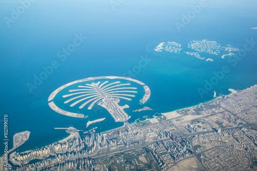 Door stickers Palm tree Küste von Dubai - Vereinigte Arabische Emirate - Luftbild,