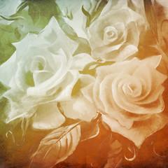 Fototapetaweiße rosen malerei