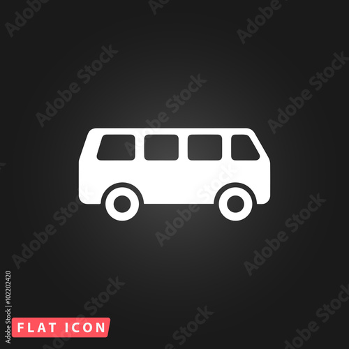Fotografie, Obraz  minibus flat icon