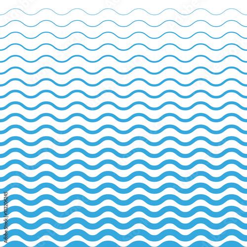Zdjęcie XXL Fala niebieski wzór. Morze tło w wektorze