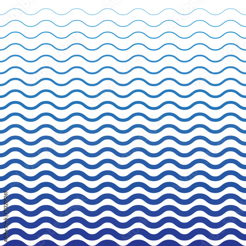 Spoed Foto op Canvas Abstract wave Wave Blue Pattern. Sea Background in Vector