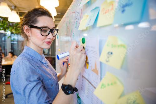 Fotografía  Woman writing business plan on whiteboard