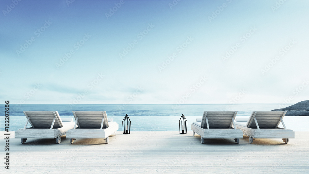 Fotomural Beach lounge - Sundeck on Sea view / 3d render