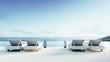 Leinwanddruck Bild - Beach lounge - Sundeck on Sea view / 3d render