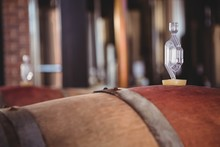 Wooden Barrels Of Wine Ferment...