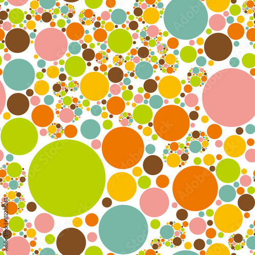 Fotografie, Obraz  Colorful circles background. Seamless pattern.Vector.カラフル円形パターン