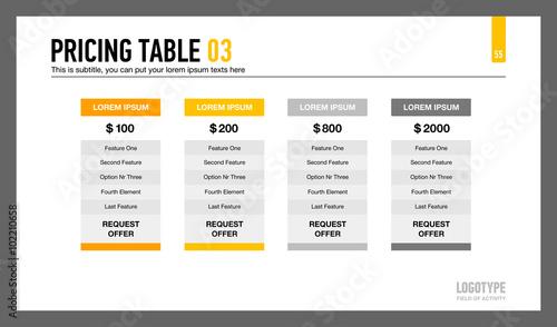 Fotografía  Pricing Table Slide Template