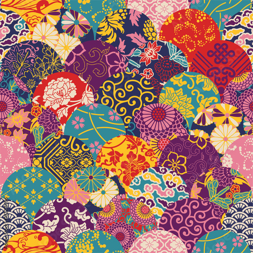 Photo  Eastern style fabric patchwork, vector seamless pattern